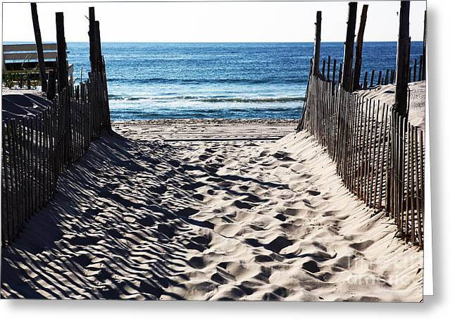 Down The Shore Greeting Cards - Beach Entry Greeting Card by John Rizzuto