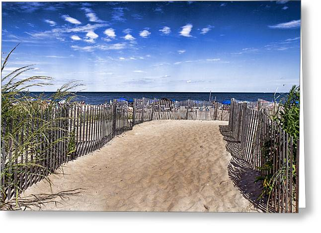 Sand Fences Mixed Media Greeting Cards - Beach Entry Greeting Card by Trudy Wilkerson