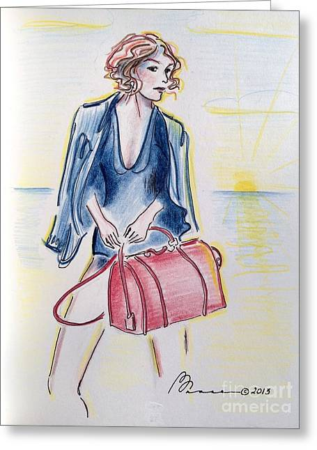 Beach Photos Drawings Greeting Cards - Beach Exec Greeting Card by Barbara Chase