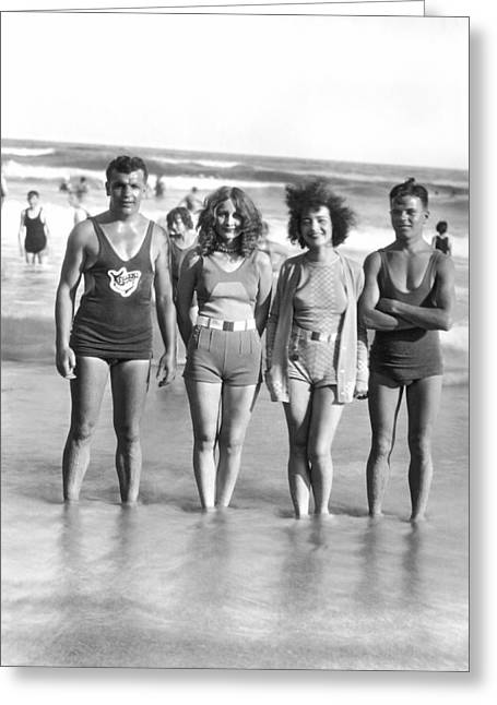 Beach Fashion Parade Winners Greeting Card by Underwood Archives