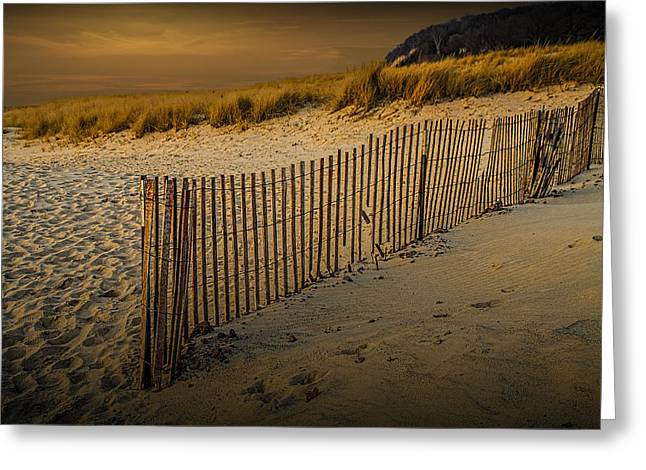 Sand Fences Greeting Cards - Beach Fence at Sunset Greeting Card by Randall Nyhof
