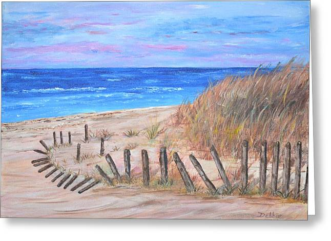 Sand Fences Paintings Greeting Cards - Beach Fence Greeting Card by Debbie Baker