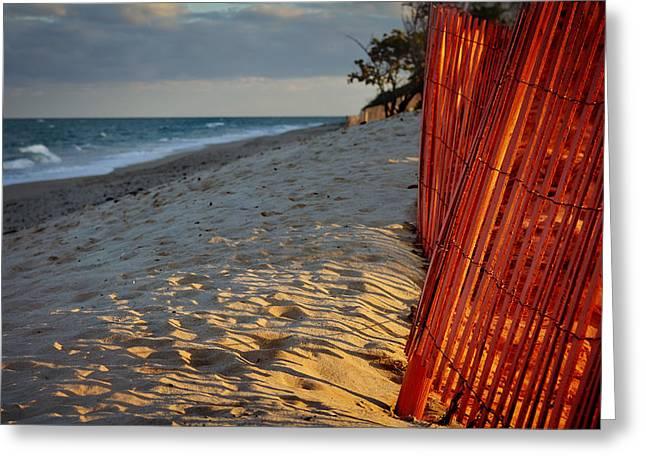 Beach Fence Greeting Card by Laura Fasulo
