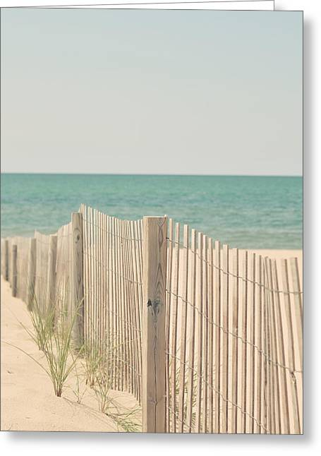 Beach Cottage Style Greeting Cards - Beach Fence Ocean Shabby Photograph Greeting Card by Elle Moss
