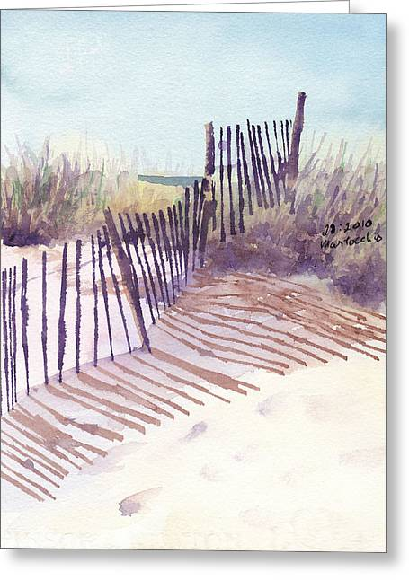 Sand Fences Paintings Greeting Cards - Beach Fence Greeting Card by Peter Martocchio