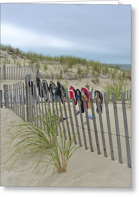 Seaside Heights Photographs Greeting Cards - Beach Fence Shoes Seaside NJ Greeting Card by Terry DeLuco