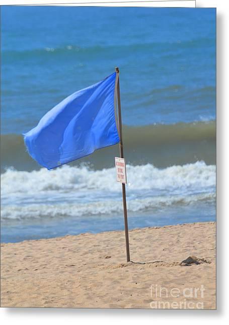 Clean Ocean Greeting Cards - BEach Flag Blues Greeting Card by Adspice Studios