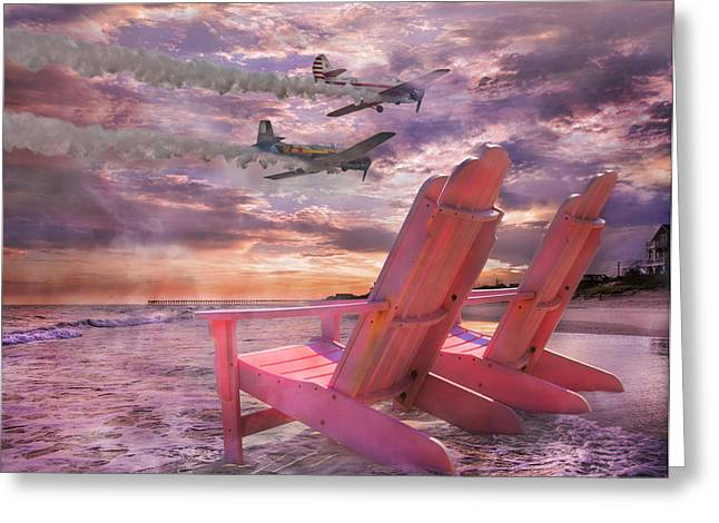 Smoke Trail Greeting Cards - Beach Flight Greeting Card by Betsy C  Knapp
