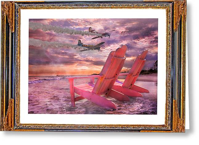 Smoke Trail Greeting Cards - Beach Flight II  Greeting Card by Betsy C  Knapp