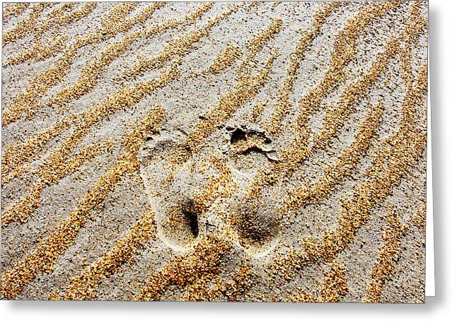 Foot-print Greeting Cards - Beach Foot Prints Greeting Card by Sean Davey