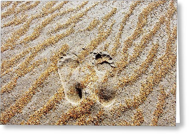 Beach Foot Prints Greeting Card by Sean Davey