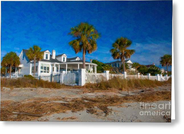 White Pickett Fences Greeting Cards - Beach Front Homes Greeting Card by Dale Powell
