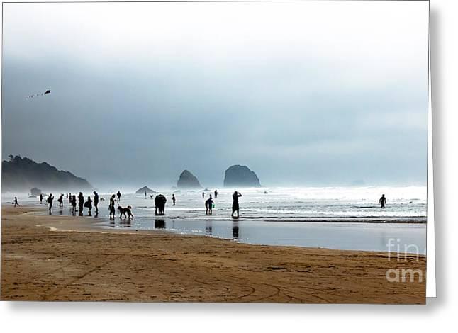 Beach Fun at Ecola  Greeting Card by Robert Bales