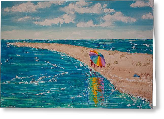 Unwind Paintings Greeting Cards - Beach Getaway Greeting Card by Cynthia Christine