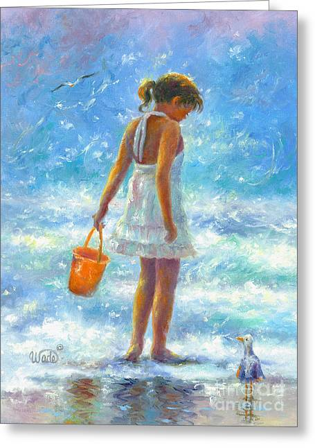 Vickie Wade Paintings Greeting Cards - Beach Girl Greeting Card by Vickie Wade
