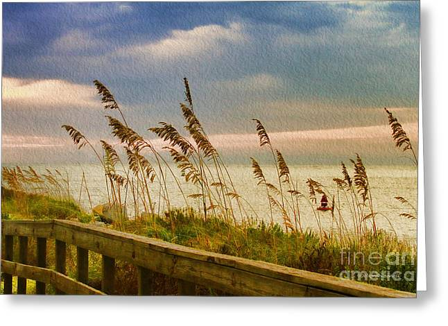 Clouds Deborah Benoit Greeting Cards - Beach Grass Greeting Card by Deborah Benoit