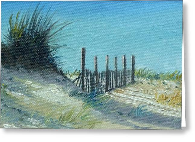 Sand Fences Paintings Greeting Cards - Beach Greeting Card by Gregg Hinlicky