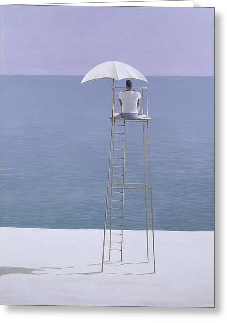 Watchman Greeting Cards - Beach Guard, 2004 Acrylic On Canvas Greeting Card by Lincoln Seligman