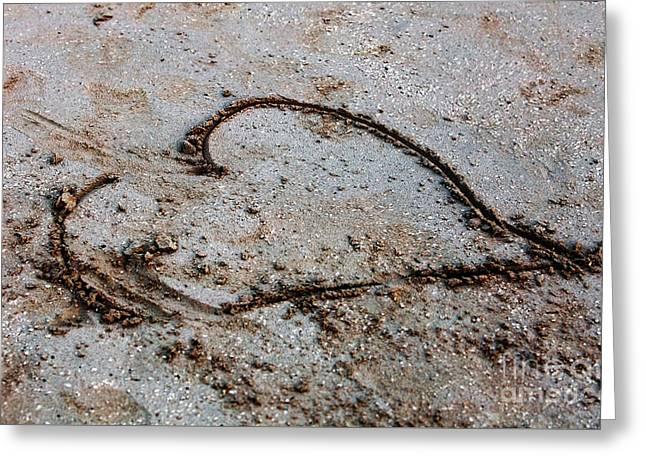 Beach Heart Greeting Card by John Rizzuto