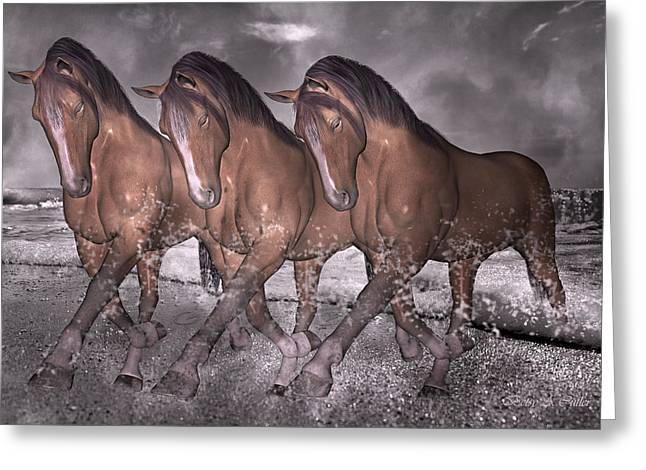 Inspriation Greeting Cards - Beach Horse Trio Night March Greeting Card by Betsy C  Knapp
