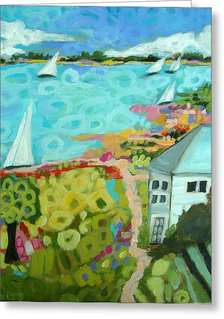 Beach Cottage Style Greeting Cards - Beach House Harbor Greeting Card by Karen Fields