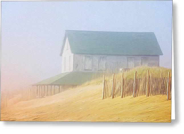 Foggy Beach Paintings Greeting Cards - Beach House in Summer Fog Greeting Card by Dominic Piperata