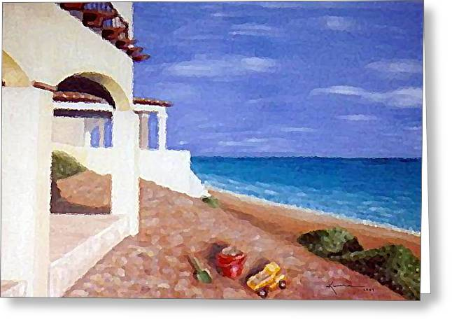 Shover Greeting Cards - Beach House Greeting Card by Kume Bryant