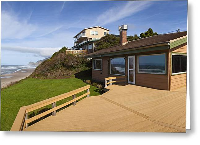 Day At The Beach Greeting Cards - Beach house panorama Lincoln City Oregon. Greeting Card by Gino Rigucci
