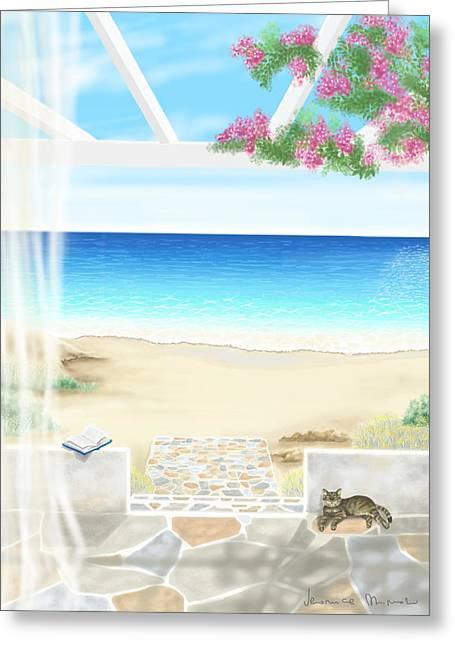 On The Beach Greeting Cards - Beach house Greeting Card by Veronica Minozzi
