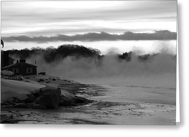 Maine Beach Greeting Cards - Beach House Winter Greeting Card by Colleen Mars