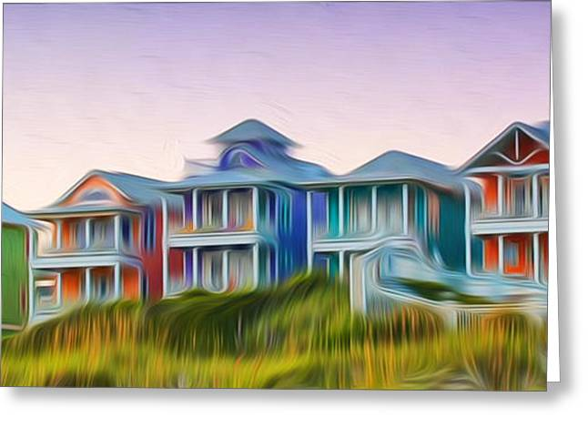 Atlantic Beaches Digital Greeting Cards - Beach Houses Greeting Card by Brian Mollenkopf