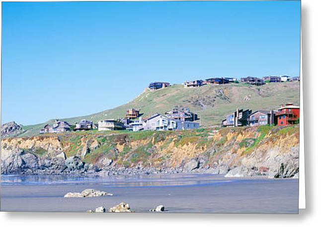 California Beach Greeting Cards - Beach Houses On A Rocky Beach, Dillon Greeting Card by Panoramic Images
