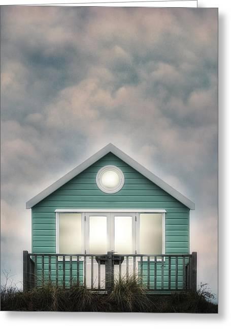 Moody Beach Greeting Cards - Beach Hut Greeting Card by Joana Kruse