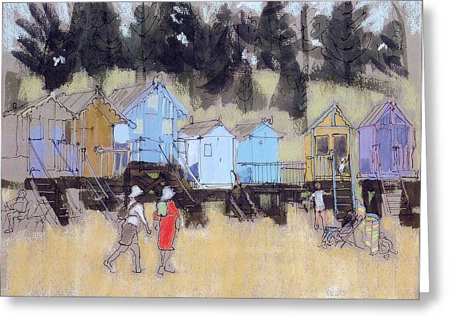 Huts Greeting Cards - Beach Huts At Wells Mixed Media Greeting Card by Felicity House