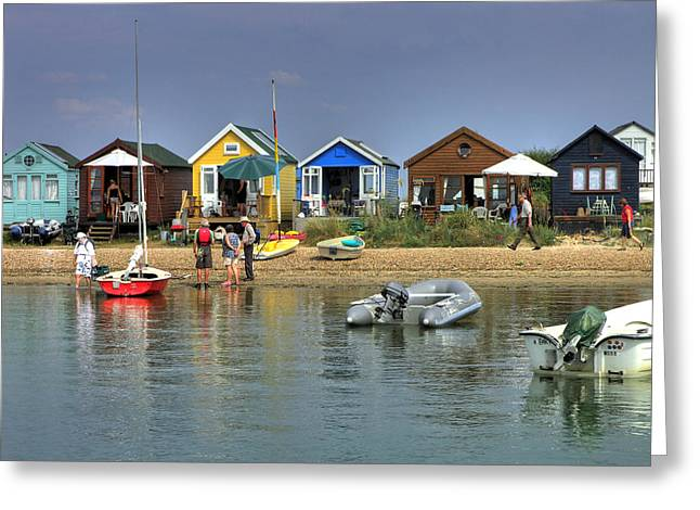 Sunbathing Greeting Cards - Beach Huts. Hengistbury Head. Greeting Card by Mike Lester