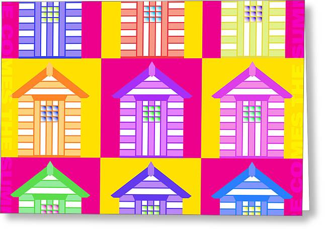 Hockey Guy Greeting Cards - Beach Huts Here Comes Greeting Card by Neil Finnemore