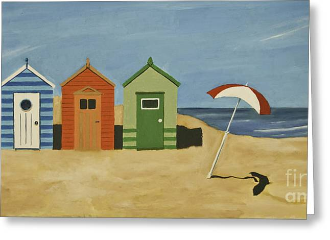 Buildings By The Sea Greeting Cards - Beach Huts Greeting Card by James Lavott