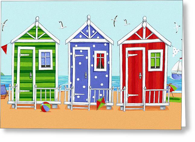 Beach Huts Greeting Card by Peter Adderley