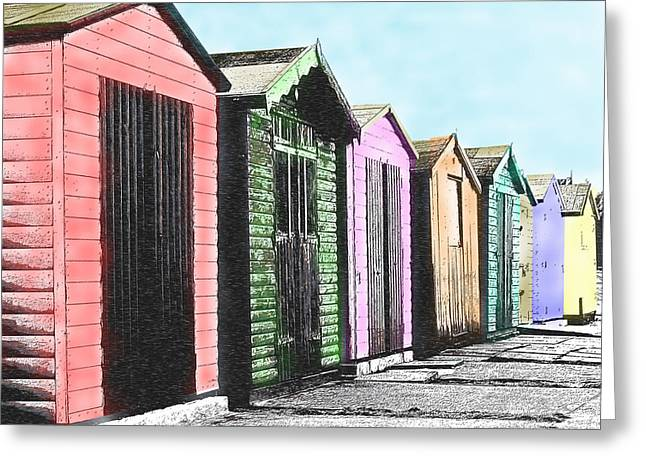 Sheds Greeting Cards - Beach Huts Greeting Card by Richard Reeve