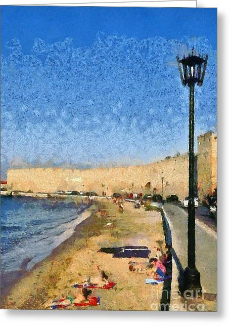 Dodekanissos Greeting Cards - Beach in front of the old city of Rhodes Greeting Card by George Atsametakis