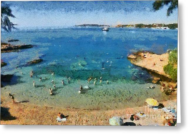 Greece Greeting Cards - Beach in Vouliagmeni Greeting Card by George Atsametakis
