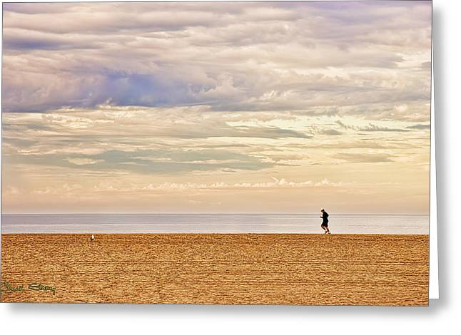 Jogger Greeting Cards - Beach Jogger Greeting Card by Chuck Staley