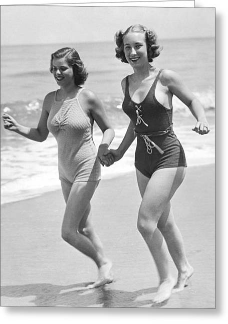 Jogging Greeting Cards - Beach Jogging Pals Greeting Card by Underwood Archives