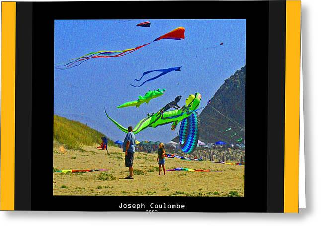 Half Moon Bay Greeting Cards - Beach Kids 4 Kites Greeting Card by Joseph Coulombe