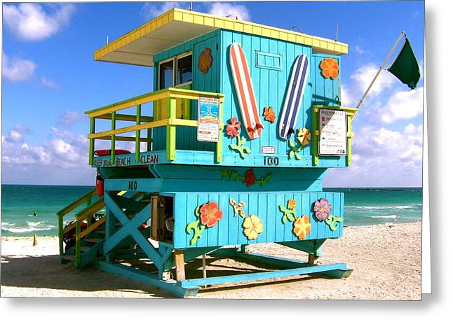 Guard Tower Greeting Cards - BEACH LIFE in Miami South Beach Greeting Card by Monique Wegmueller