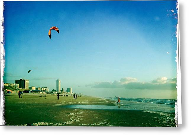 Kite Surfing Greeting Cards - Beach Life kite surfing Greeting Card by Patricia Ramaer