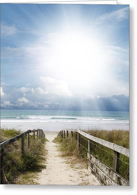 Sandy Beaches Greeting Cards - Beach light Greeting Card by Les Cunliffe