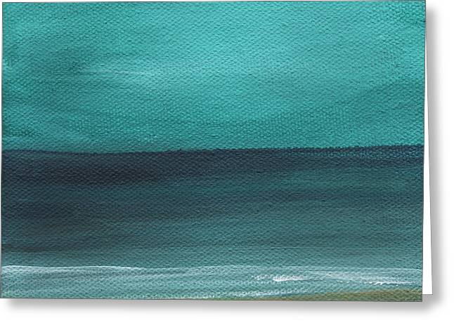 Fog Mixed Media Greeting Cards - Beach Morning- abstract landscape Greeting Card by Linda Woods