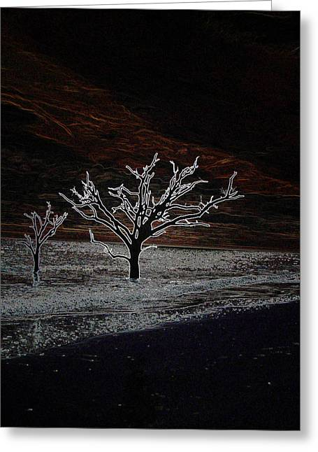 Beach At Night Greeting Cards - Beach Mystery at Night Greeting Card by Ella Char
