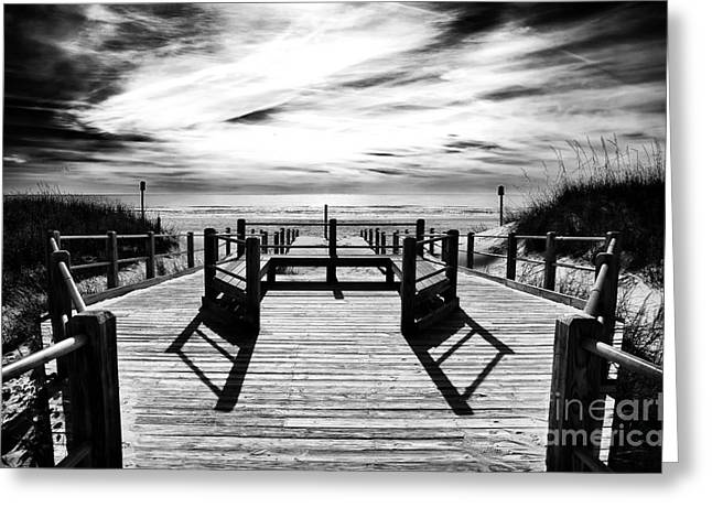 Myrtle Beach Ocean Photography Greeting Cards - Beach Noir Greeting Card by John Rizzuto